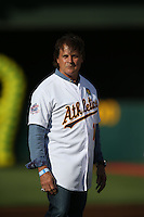 OAKLAND, CA - JULY 19:  Manager Tony La Russa #10 of the 1989 Oakland A's celebrates their World Series championship 25 years ago, before a game against the Baltimore Orioles at O.co Coliseum on July 19, 2014 in Oakland, California. Photo by Brad Mangin