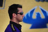 Oct. 16, 2011; Chandler, AZ, USA; NHRA pro stock driver Vincent Nobile during the Arizona Nationals at Firebird International Raceway. Mandatory Credit: Mark J. Rebilas-