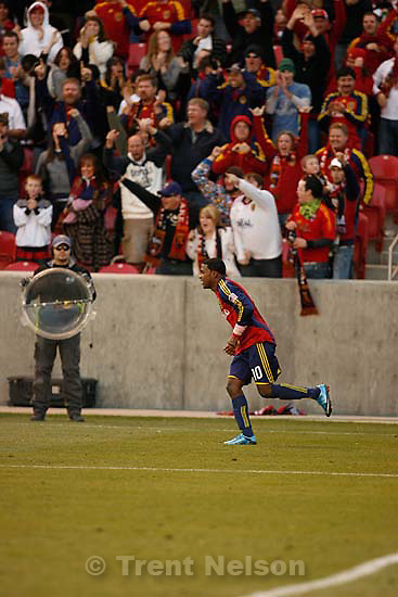 Fans celebrate Real Salt Lake forward Robbie Findley's late goal. Real Salt Lake vs. Columbus Crew, MLS Soccer playoffs Saturday, October 31 2009 at Rio Tinto Stadium in Sandy.
