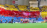 Stockholm 2014-08-31 Fotboll Allsvenskan Djurg&aring;rdens IF - Malm&ouml; FF :  <br /> Vy &ouml;ver Tele2 Arena under lineup innan matchen med Djurg&aring;rdens supportrar som har tifo p&aring; l&auml;ktarna<br /> (Foto: Kenta J&ouml;nsson) Nyckelord:  Djurg&aring;rden DIF Tele2 Arena Malm&ouml; MFF supporter fans publik supporters inomhus interi&ouml;r interior