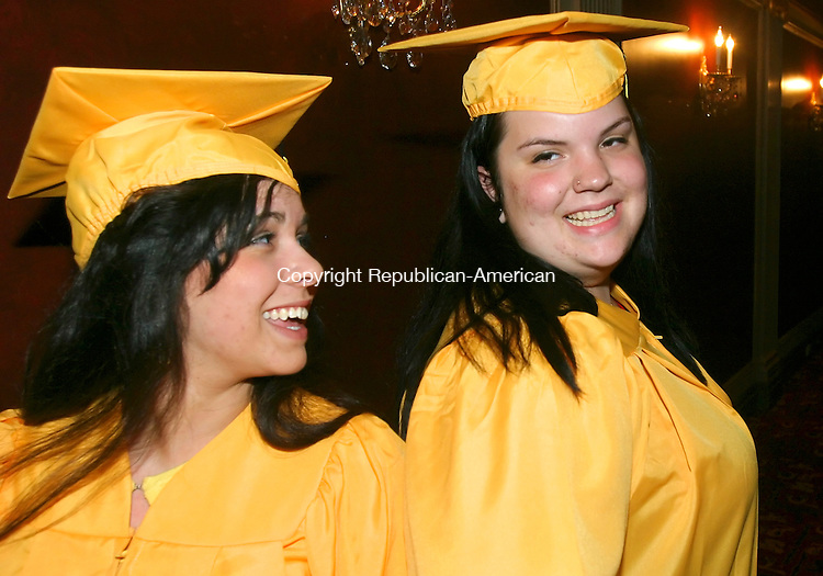 WATERBURY CT. 18  June 2008-061808SV06--From left, Jacqueline Swift, 18 and Michelle Boucher, 18, get ready to walk into the Kaynor Tech. graduation ceremony at the Palace Theater in Waterbury Wednesday.<br /> Steven Valenti Republican-American
