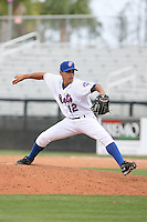 April 12, 2009:  Pitcher Jose De La Torre (12) of the St. Lucie Mets, Florida State League Class-A affiliate of the New York Mets, during a game at Tradition Field in St. Lucie, FL.  Photo by:  Mike Janes/Four Seam Images