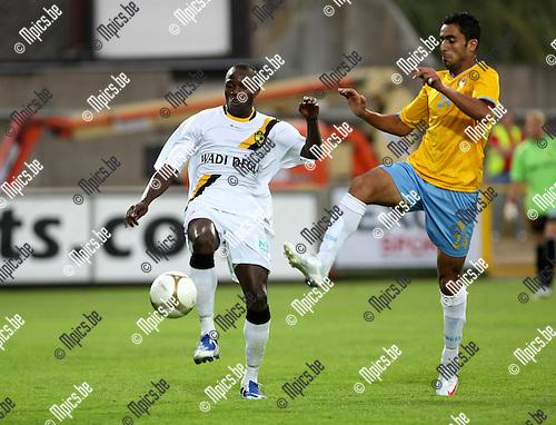 2009-08-10 / Voetbal / seizoen 2009-2010 / Lierse SK - El Ismaily / Abdou Jammeh (Lierse) met Karim..Foto: Maarten Straetemans (SMB)