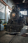 Historic steam engine locomotive at the Nevada Northern Railway National Historic Landmark museum in Nevada