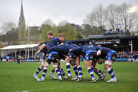 Bath forwards in action during the pre-match warm-up. Amlin Challenge Cup quarter-final, between Bath Rugby and CA Brive on April 6, 2014 at the Recreation Ground in Bath, England. Photo by: Patrick Khachfe / Onside Images