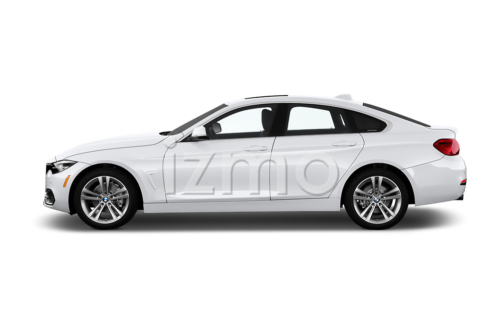 Car driver side profile view of a 2018 BMW 4 Series Gran Coupe 430i 5 Door Hatchback