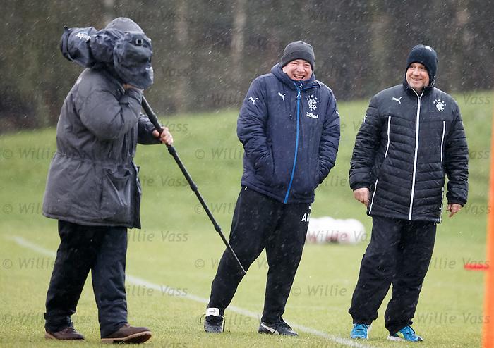 Ally McCoist and Kenny McDowall enjoying a laugh in the rain