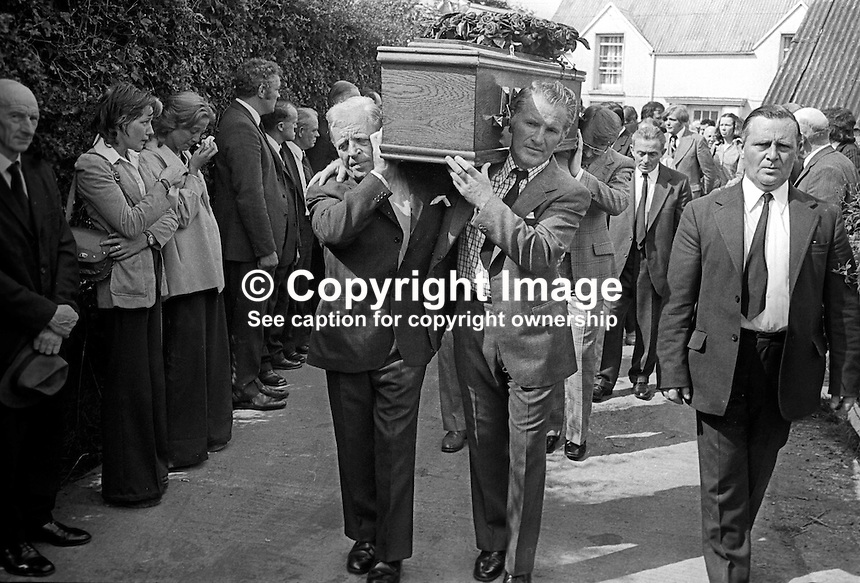 Funeral cortege of Brian McCoy, trumpeter, one of three members of the Miami Show Band, who died in a UVF attack as the band was travelling back to Dublin after appearing in Banbridge, leaves from his family home in Caledon, Co Tyrone, N Ireland, 2nd August 1975. 197508020595b<br /> <br /> Copyright Image from Victor Patterson, 54 Dorchester Park, Belfast, UK, BT9 6RJ<br /> <br /> t1: +44 28 9066 1296 (from Rep of Ireland 048 9066 1296)<br /> t2: +44 28 9002 2446 (from Rep of Ireland 048 9002 2446)<br /> m: +44 7802 353836<br /> <br /> e1: victorpatterson@me.com<br /> e2: victorpatterson@gmail.com<br /> <br /> www.victorpatterson.com<br /> <br /> IMPORTANT: Please see my Terms and Conditions of Use at www.victorpatterson.com l