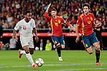 Spain's Marcos Alonso and England's Raheem Sterling during UEFA Nations League 2019 match between Spain and England at Benito Villamarin stadium in Sevilla, Spain. October 15, 2018. (ALTERPHOTOS/A. Perez Meca)