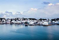 Waterfront homes along the coast of Bermuda.