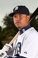 February 27, 2010:  Infielder Ramon Santiago (39) of the Detroit Tigers poses for a photo during media day at Joker Marchant Stadium in Lakeland, FL.  Photo By Mike Janes/Four Seam Images