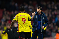 Watford manager Javi Gracia shakes hands with Watford's Troy Deeney at the final whistle <br /> <br /> Photographer Craig Mercer/CameraSport<br /> <br /> The Premier League - Sunday 11th March 2018 - Arsenal v Watford - The Emirates - London<br /> <br /> World Copyright &copy; 2018 CameraSport. All rights reserved. 43 Linden Ave. Countesthorpe. Leicester. England. LE8 5PG - Tel: +44 (0) 116 277 4147 - admin@camerasport.com - www.camerasport.com