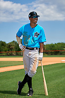 Miami Marlins Victor Mesa Jr. (10) poses for a photo after a Minor League Extended Spring Training game against the New York Mets on April 12, 2019 at the First Data Field Complex in St. Lucie, Florida.  (Mike Janes/Four Seam Images)