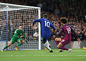 30th September 2017, Stamford Bridge, London, England; EPL Premier League football, Chelsea versus Manchester City; Eden Hazard of Chelsea with an attempted shot for goal in the 2nd half past Leroy Sane of Manchester City