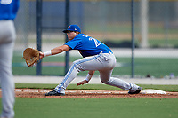 Toronto Blue Jays first baseman Kacy Clemens (23) stretches for a throw during an Instructional League game against the Philadelphia Phillies on October 7, 2017 at the Englebert Complex in Dunedin, Florida.  (Mike Janes/Four Seam Images)
