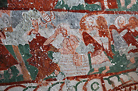 Fresco of the baptism of Christ in the river Jordan by St John the Baptist, in Pancarlik Kilise or Pancarlik Church, early 11th century, in the Pancarlik Valley, Nevsehir province, Cappadocia, Central Anatolia, Turkey. The churches are carved from the soft volcanic tuff created by ash from volcanic eruptions millions of years ago. Early christians came here to flee persecution by the Romans and others settled here under the influence of early saints. This area forms part of the Goreme National Park and the Rock Sites of Cappadocia UNESCO World Heritage Site. Picture by Manuel Cohen