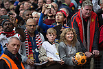 © Joel Goodman - 07973 332324 . 17/05/2015 .  Pre match autograph hunters . 0-0 . Manchester Utd vs Arsenal at Old Trafford Football Stadium , Manchester . Photo credit : Joel Goodman