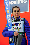 HOLMENKOLLEN, OSLO, NORWAY - March 17: Sarah Hendrickson of USA (USA) during the FIS Ski Jumping World Cup Ladies Overall the prize giving ceremony for the season 2012/2013 at the FIS Ski Jumping World Cup from the large hill HS 134 Holmenkollbakken on March 17, 2013 in Oslo, Norway. 1st place Sara Takanashi of Japan (JPN), 2nd place Sarah Hendrickson of USA and 3rd place Coline Mattel of France (FRA). (Photo by Dirk Markgraf)