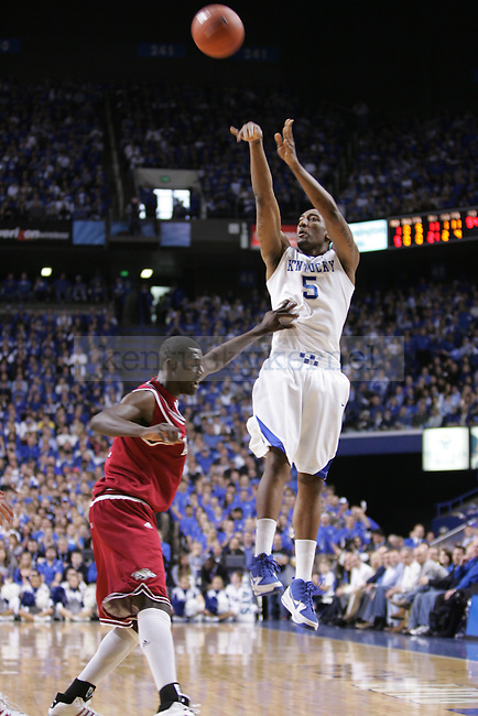 UK senior guard/forward Ramon Harris attempts a three-point shot in the first half against the University of Arkansas at Rupp Arena on Saturday. Photo by Scott Hannigan | Staff