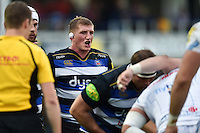Stuart Hooper of Bath Rugby rallies his fellow forwards at a scrum. West Country Challenge Cup match, between Bath Rugby and Exeter Chiefs on October 10, 2015 at the Recreation Ground in Bath, England. Photo by: Patrick Khachfe / Onside Images