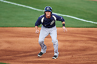 Pensacola Blue Wahoos second baseman Zach Vincej (3) leads off first during a game against the Mississippi Braves on May 28, 2015 at Trustmark Park in Pearl, Mississippi.  Mississippi  defeated Pensacola 4-2.  (Mike Janes/Four Seam Images)