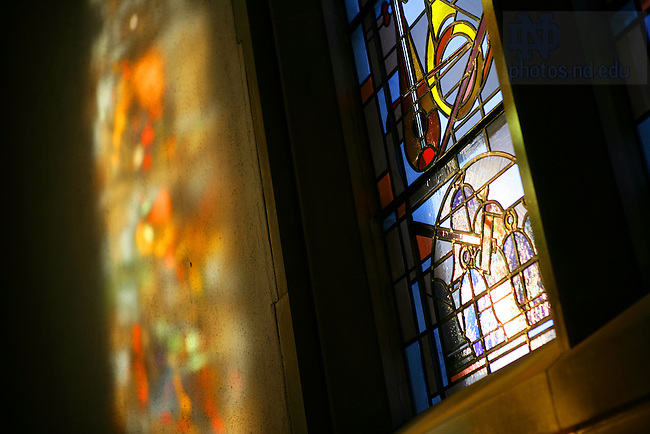Stained glass windows in the O'Shaughnessy great hall...Photo by Matt Cashore..
