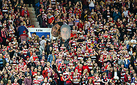 Wigan Warriors fans watch on during the second half<br /> <br /> Photographer Alex Dodd/CameraSport<br /> <br /> Betfred Super League Grand Final - Wigan Warriors v Warrington Wolves - Saturday 13th October 2018 - Old Trafford - Manchester<br /> <br /> World Copyright &copy; 2018 CameraSport. All rights reserved. 43 Linden Ave. Countesthorpe. Leicester. England. LE8 5PG - Tel: +44 (0) 116 277 4147 - admin@camerasport.com - www.camerasport.com
