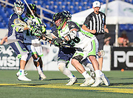Annapolis, MD - July 7, 2018: New York Lizards Thomas Kelly (26) tries to win the faceoff during the game between New York Lizards and Chesapeake Bayhawks at Navy-Marine Corps Memorial Stadium in Annapolis, MD.   (Photo by Elliott Brown/Media Images International)