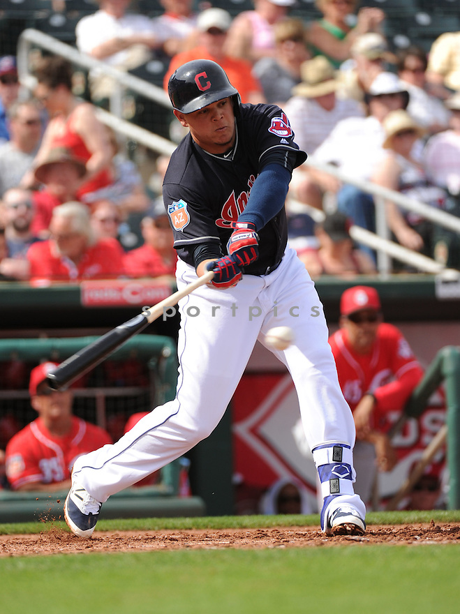 Cleveland Indians Geovanny Urshela (39) during a pre-season game against the Cincinnati Reds on March 1, 2016 at Goodyear Ballpark in Goodyear, AZ. The Reds beat the Indians 6-5.