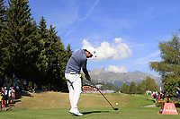 Doug Ghim (USA) tees off the 18th tee during Saturday's Round 3 of the 2018 Omega European Masters, held at the Golf Club Crans-Sur-Sierre, Crans Montana, Switzerland. 8th September 2018.<br /> Picture: Eoin Clarke | Golffile<br /> <br /> <br /> All photos usage must carry mandatory copyright credit (&copy; Golffile | Eoin Clarke)