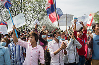 Dec. 30, 2013 - Phnom Penh, Cambodia. Garment factory workers protest calling for a higher wage. © Nicolas Axelrod / Ruom