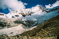 20,210 foot high Huandoy Sur rises above climbers'  camp in the Cordillera Blanca,  Ancash, Peru.