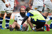 Kane Palma-Newport of Bath Rugby is treated for an injury during a break in play. Aviva Premiership match, between Leicester Tigers and Bath Rugby on September 3, 2017 at Welford Road in Leicester, England. Photo by: Patrick Khachfe / Onside Images