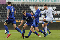 Pictured: Keiran Evans of Swansea (R). Tuesday 01 May 2018<br /> Re: Swansea U19 v Cardiff U19 FAW Youth Cup Final at the Liberty Stadium, Swansea, Wales, UK