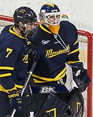 Jonathan Lashyn (Merrimack - 7), Collin Delia (Merrimack - 1) - The visiting Merrimack College Warriors defeated the Boston College Eagles 6 - 3 (EN) on Friday, February 10, 2017, at Kelley Rink in Conte Forum in Chestnut Hill, Massachusetts.