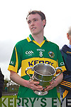 Captain Niall Sheehy of Tralee CBS after beating St Flannan's in the Frewen Cup Final held last Wednesday in Croagh, Co. Limerick. .