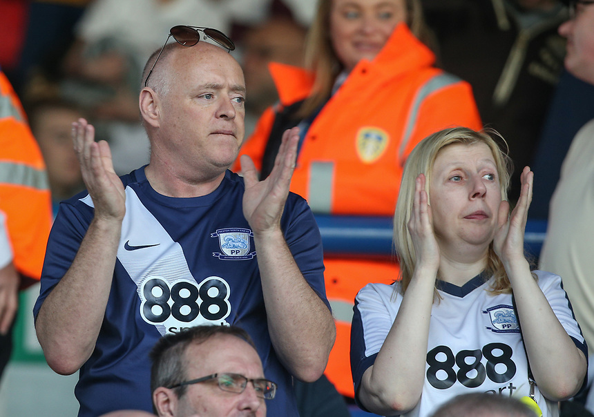 Preston North End fans applaud their team as they leave the field after the warm up<br /> <br /> Photographer Alex Dodd/CameraSport<br /> <br /> The EFL Sky Bet Championship - Leeds United v Preston North End - Saturday 8th April 2017 - Elland Road - Leeds<br /> <br /> World Copyright &copy; 2017 CameraSport. All rights reserved. 43 Linden Ave. Countesthorpe. Leicester. England. LE8 5PG - Tel: +44 (0) 116 277 4147 - admin@camerasport.com - www.camerasport.com