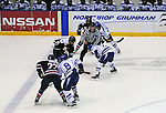 February 20, 2016 - Colorado Springs, Colorado, U.S. -   Second period face off during an NCAA ice hockey game between the Robert Morris University Colonials and the Air Force Academy Falcons at Cadet Ice Arena, United States Air Force Academy, Colorado Springs, Colorado.  Air Force defeats Robert Morris 4-1