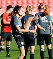 20171023 - PENAFIEL , PORTUGAL :  Belgian Tessa Wullaert pictured during the matchday -1 training session of the Belgian national women's soccer team Red Flames prior to the game against the women's team of Portugal , on monday 23 October 2017 at Estádio Municipal 25 de Abril in Penafiel. The Red Flames are playing their third game in the Worldcup 2019 France qualification against Portugal. PHOTO SPORTPIX.BE | DAVID CATRY