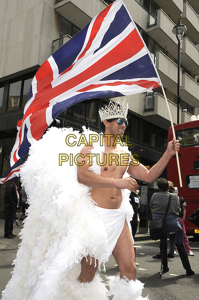Pride London 2013 Parade through the streets of the capital to support Gay rights. An estimated 25,000 people took part. <br /> London, UK, 29th June 2013.<br /> union jack white feather wings crown topless chest torso <br /> CAP/PP/BK<br /> &copy;Bob Kent/PP/Capital Pictures