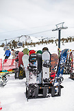 USA, California, Mammoth, racks holding an array of ski and snowboard gear at Mammoth Ski Resort
