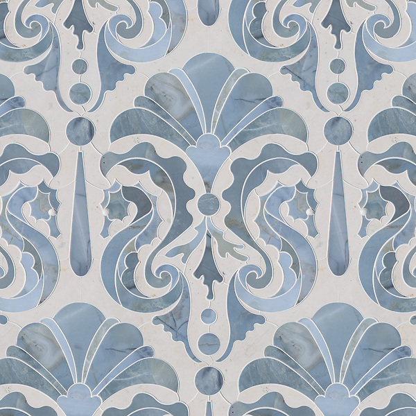 Caroushell®, a waterjet stone mosaic, shown in polished Pacifica and Bianco Antico, is part of the Kiddo collection by Cean Irminger for New Ravenna.