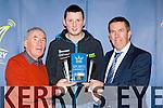Weeshie Fogarty and David Randles presents motor rally star Robert Duggan Killarney his sports award in Kaynes bar on Monday night