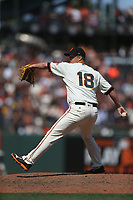 SAN FRANCISCO, CA - JULY 9:  Matt Cain #18 of the San Francisco Giants pitches against the Miami Marlins during the game at AT&T Park on Sunday, July 9, 2017 in San Francisco, California. (Photo by Brad Mangin)