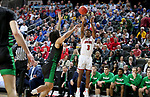 SIOUX FALLS, SD - MARCH 8: Triston Simpson #3 of the South Dakota Coyotes shoots a jumper against the North Dakota Fighting Hawks at the 2020 Summit League Basketball Championship in Sioux Falls, SD. (Photo by Dave Eggen/Inertia)