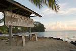 Cook's Bay, Moorea, French Polynesia; sunrise views from the UC Berkeley Gump Research Station wooden sign , Copyright © Matthew Meier, matthewmeierphoto.com All Rights Reserved