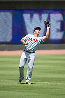 Salem Red Sox left fielder Kevin Heller (20) catches a fly ball during the game against the Winston-Salem Dash at BB&T Ballpark on May 31, 2015 in Winston-Salem, North Carolina.  The Red Sox defeated the Dash 6-5.  (Brian Westerholt/Four Seam Images)