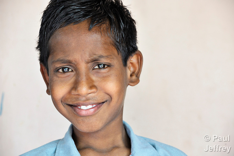 12-year old Amarnadh, an HIV-positive orphan, lives with his grandmother in Guntur, Andhra Pradesh, India. (See Special Instructions below.)