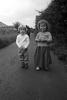 Olive and Lucas at Thackston cottage, somerset. England. Summer 2003