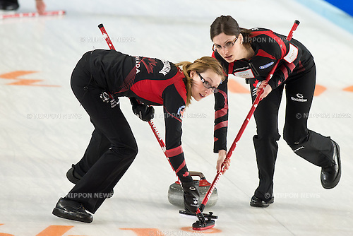 (L-R): Alison Kreviatzuk, Lisa Weagle (CAN), MARCH 20, 2013 - Curling : World  Women's Curling  Championship 2013 at Volvo Sport Center, Riga, Latvia, (Photo by Enrico Calderoni/AFLO SPORT)